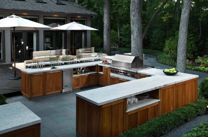 outdoor kitchen bar large outdoor kitchen island with wooden cabinets white countertop barbecue