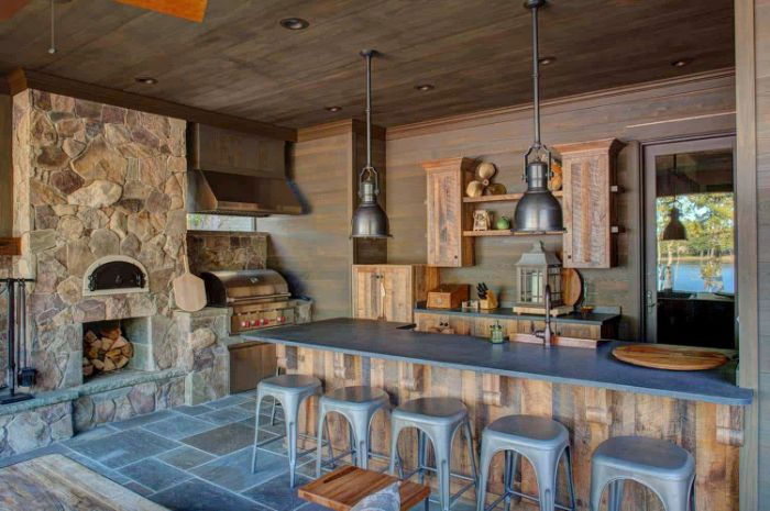 outdoor wooden bar enclosed outdoor kitchen with wooden kitchen island cabinets gray countertop gray bar stools
