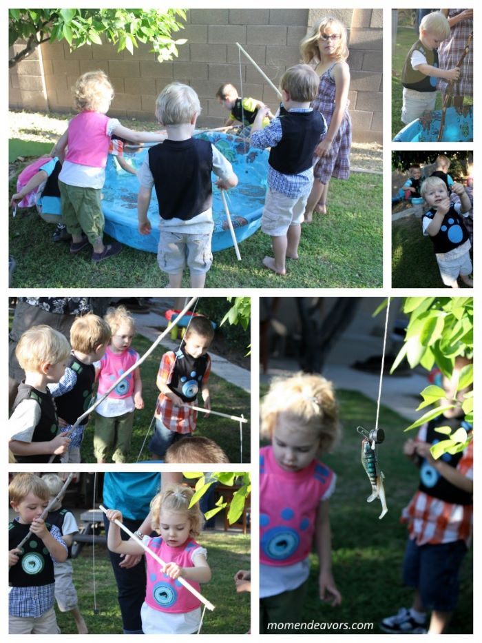photo collage of lots of kids fishing in a kiddie pool with plastic fish bait fun games to play outside