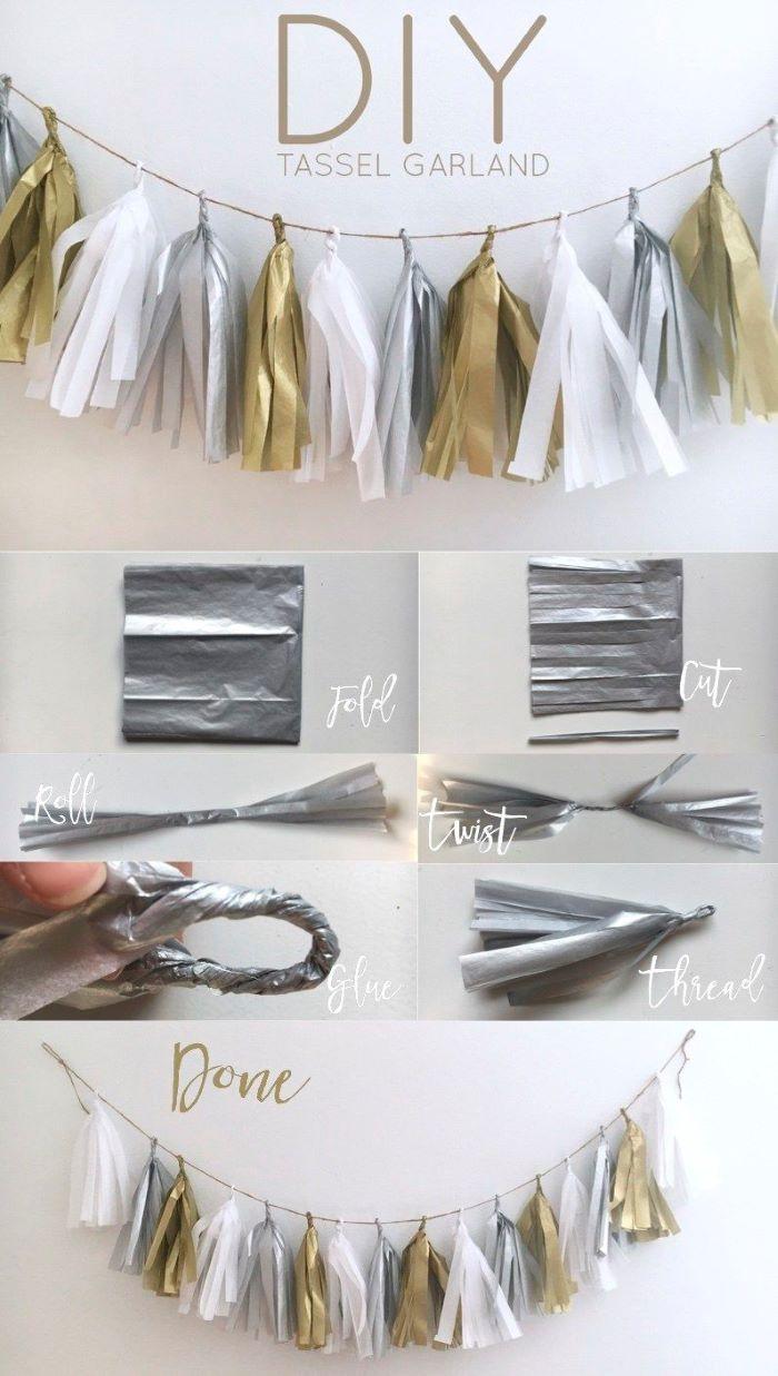 photo collage of step by step diy tutorial baby shower centerpiece ideas how to make tassel garland