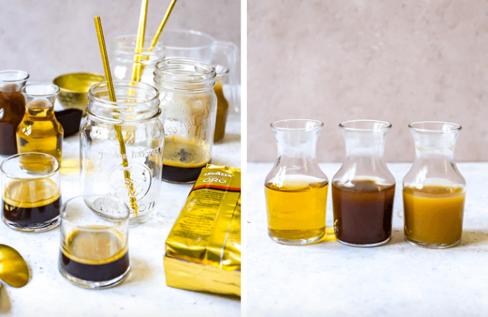 side by side photos of mason jars glasses with coffee how to make cold brew coffee three pitchers with different ingredients