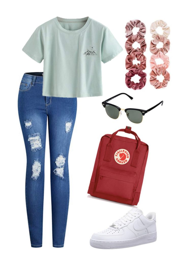 skinny jeans gray crop top white air force ones cute dresses for teens red backpack sunglasses scrunchies