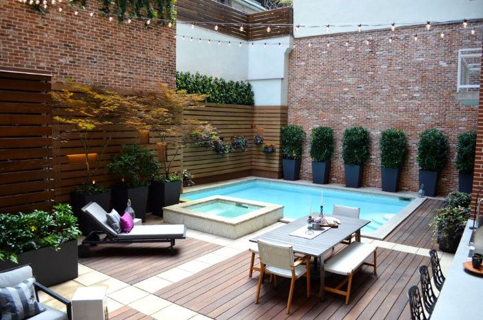 small pool in backyard of balcony small inground pools lounge chairs and dining table on wooden floor