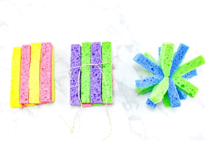 sponges cut lengthwise tied together what to do outside step by step diy tutorial for sponge bombs