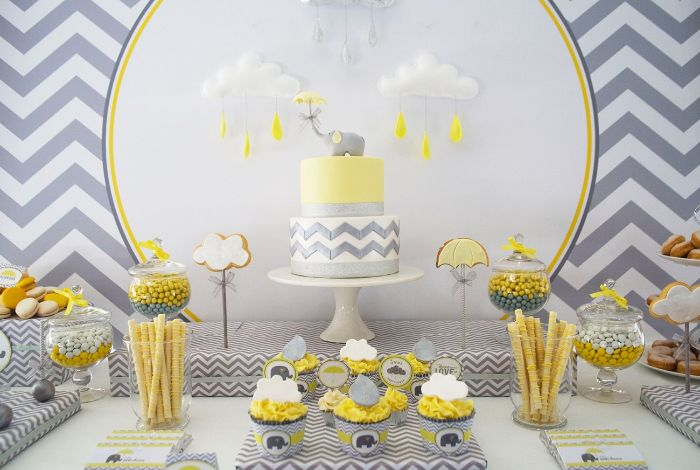 sweets candy cake placed on dessert table baby shower decoration ideas in gray yellow and white