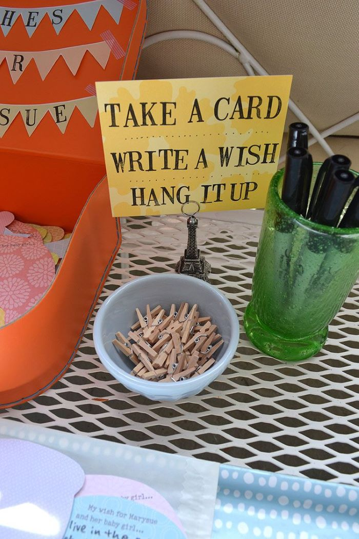 take a card write wish hang it up baby shower table decorations step by step diy tutorial