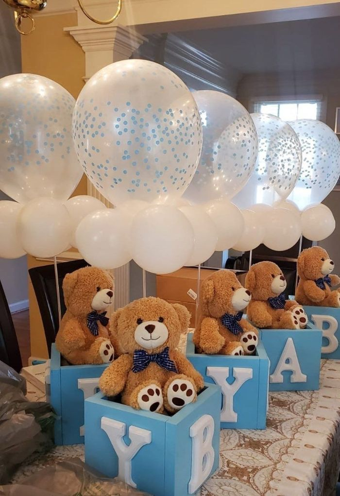 teddy bear inside baby block holding white balloons boy baby shower decorations centerpiece