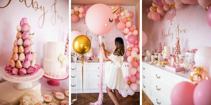 three side by side photos baby shower ideas for girls dessert table with different sweets ballons in different shades of pink