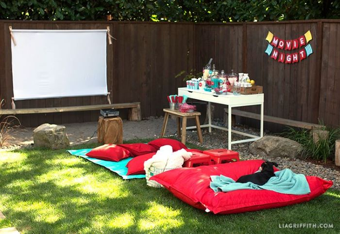 what to do outside diy movie screen red mattress and throw pillows on the floor candy bar