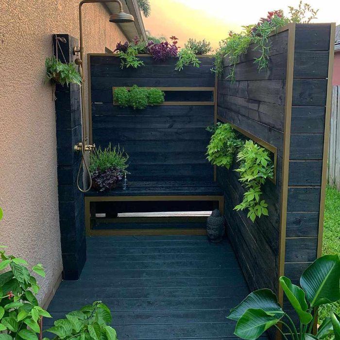 wood enclosure with built in shelves for plants diy outdoor shower enclosure black wood