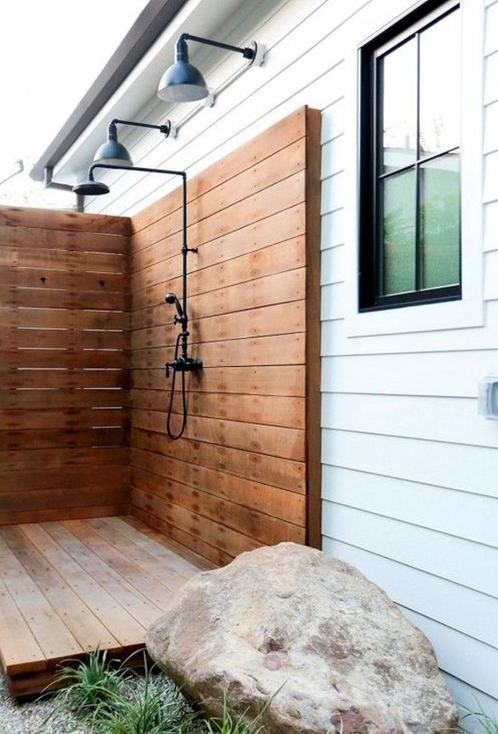 wood walls and floor in enclosure with lights above outdoor shower ideas black shower mounted