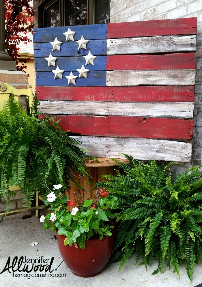 american flag made of wooden pallet with silver stars 4th of july outdoor decorations