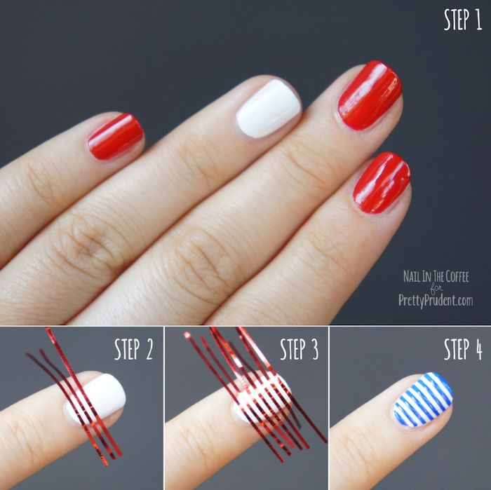 american flag nails step by step diy tutorial white and red nail polish blue stripes