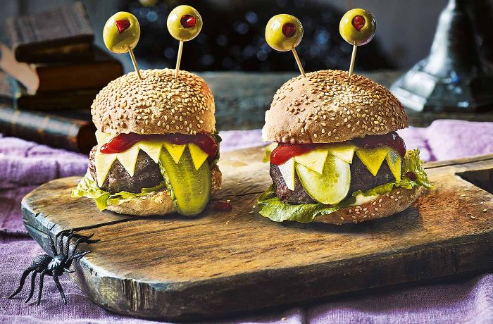halloween burgers how long to grill burgers spooky with olives pickles cheese ketchup