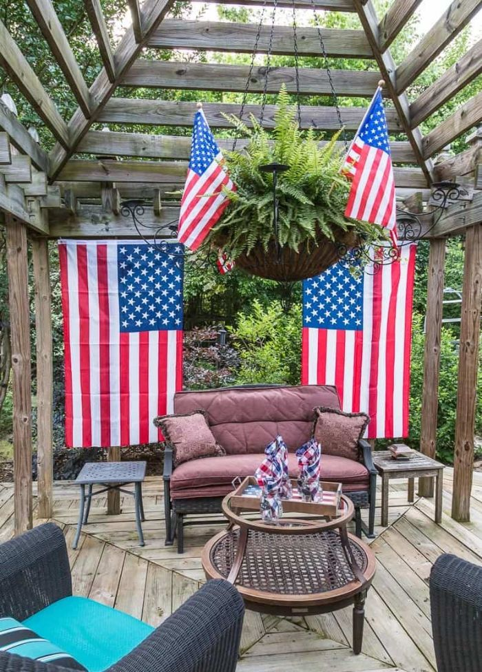 american flags hanging on both sides of sofa fourth of july decorations backyard decorations