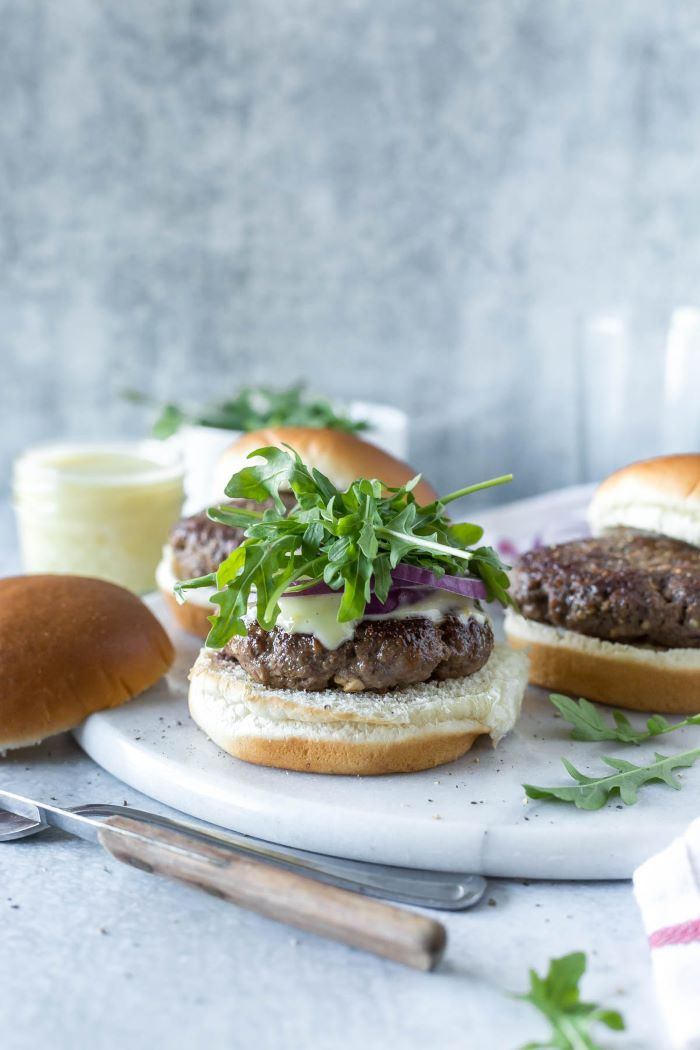 arugula onion on top of patty with melted cheese how long to cook burgers spiced lamb burger