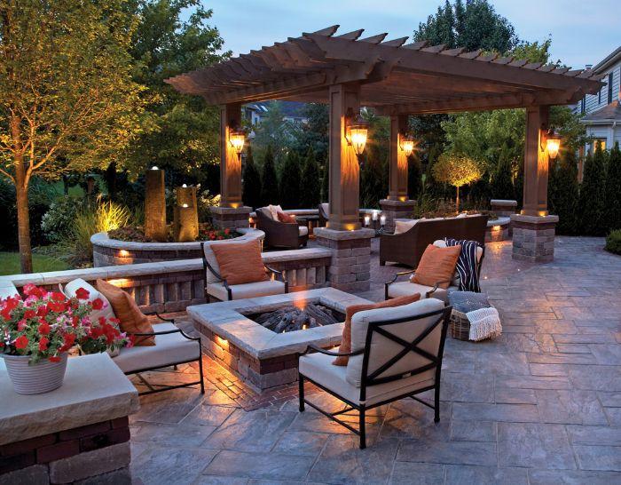 backyard fire pit ideas four chairs around it with white cushions orange throw pillows