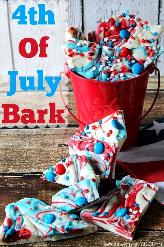 bark made of white chocolate with red blue swirls red white and blue desserts decorated with red blue m and ms