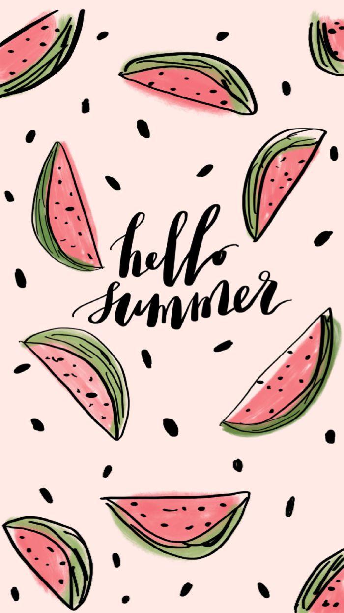 beach aesthetic wallpaper hello summer written in black surrounded by watercolor watermelon drawings