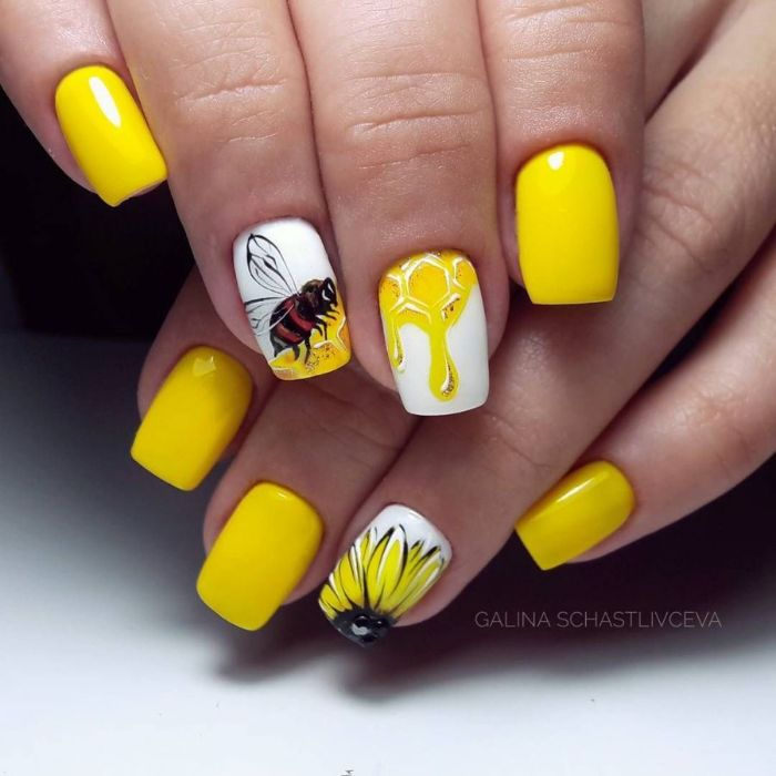 bee honey sunflower decorations on medium length square nails bright summer nails yellow nail polish