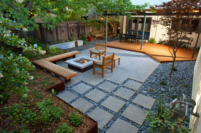 bench chairs made of wood arranged around square fire pit seating ideas fire burning inside