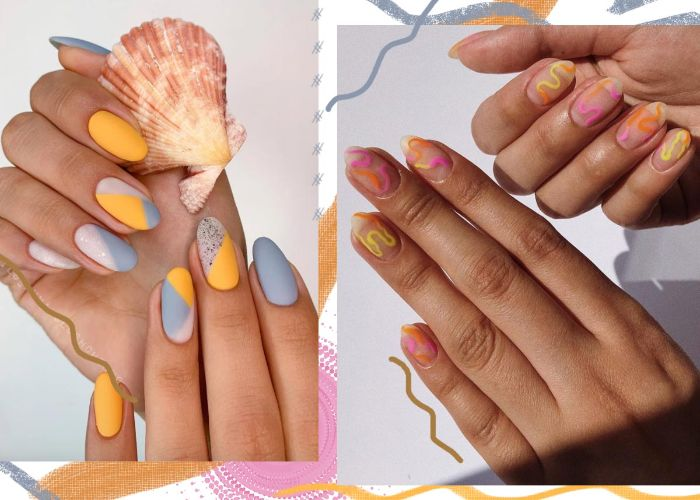 blue and yellow geometrical nail polish bright summer nails orange pink yellow abstract manicure