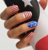 blue glitter white nail polish patriotic nails red stripes in different directions drawn on short squoval nails