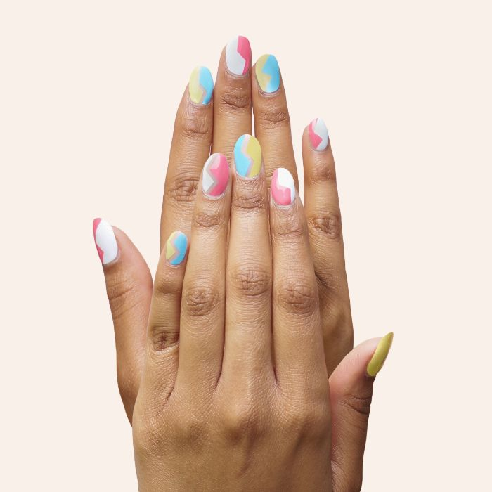 blue pink white green abstract ombre nail polish summer nail colors medium length squoval nails