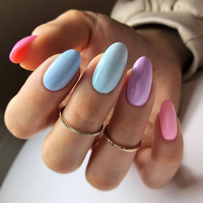 blue purple pink almond nails summer nail designs 2021 different nail polish on each finger