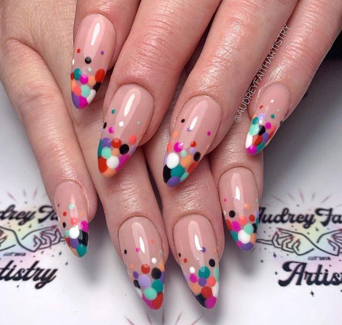 blue purple white orange black red dots on nude nail polish cute acrylic nail ideas