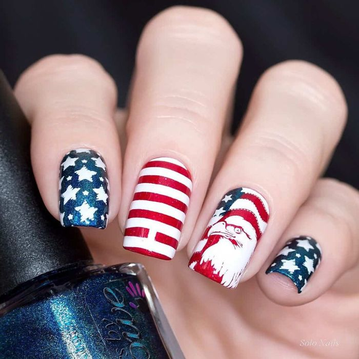 blue red white nail polish 4th of july nail ideas starsr stripes american flag american eagle decorations
