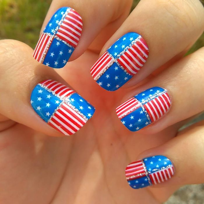 blue stars red and white stripes 4th of july nail designs star spangled banner on each nail