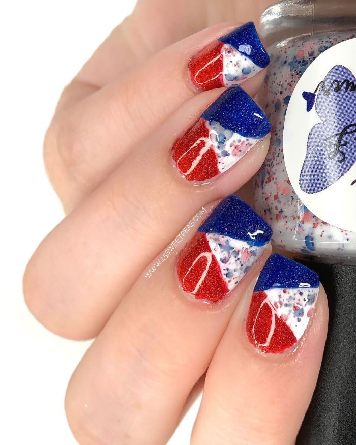 color block in red white and blue 4th of july nail art watercolor dots on each nail stars