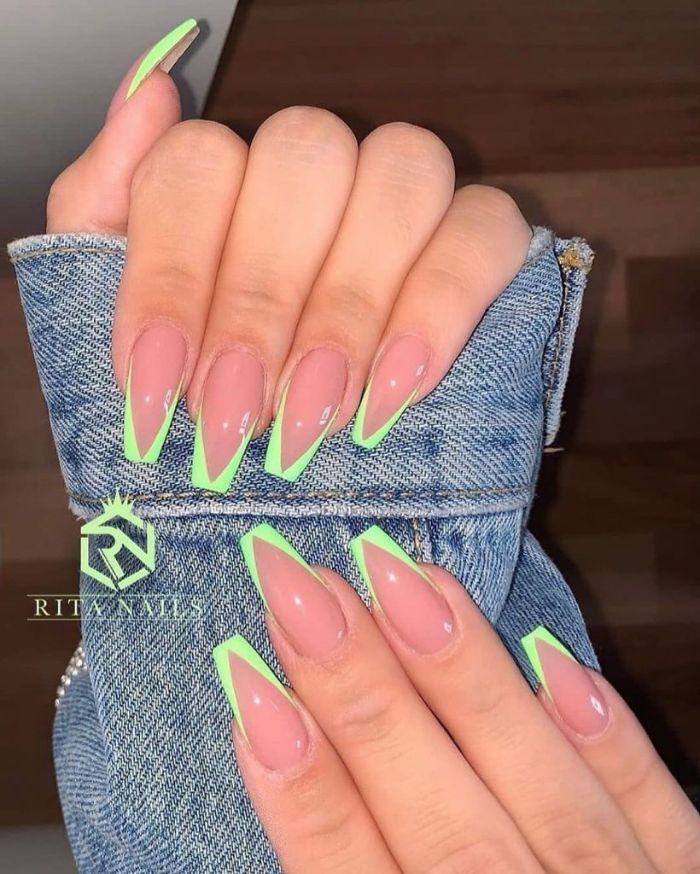 cute nail designs long coffin nails with triangle french manicure in light blue