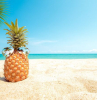 cute pineapple with sunglasses placed in the sand summer wallpaper palm tree ocean in the background