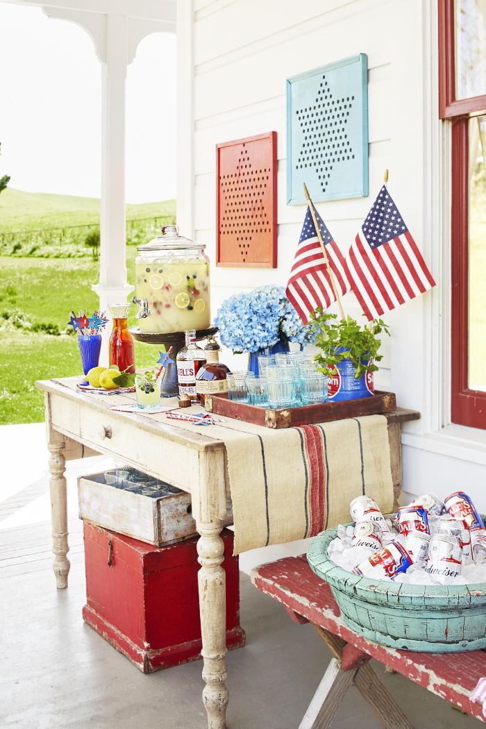 drinks table decorated with american flags blue flowers fourth of july crafts red blue stars background