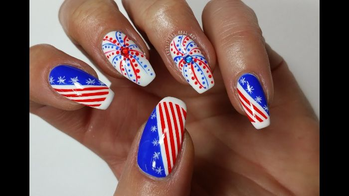 fireworks and american flag decorations patriotic nails red white blue nail polish