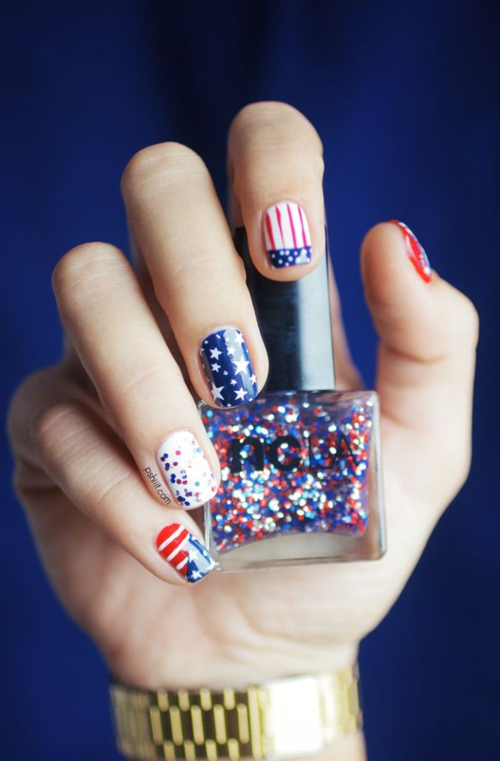 flag decorations stripes and stars on each nail 4th of july nails white blue red nail polish