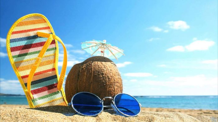 flip flop coconut sunglasses placed on a beach summer wallpaper ocean in the background