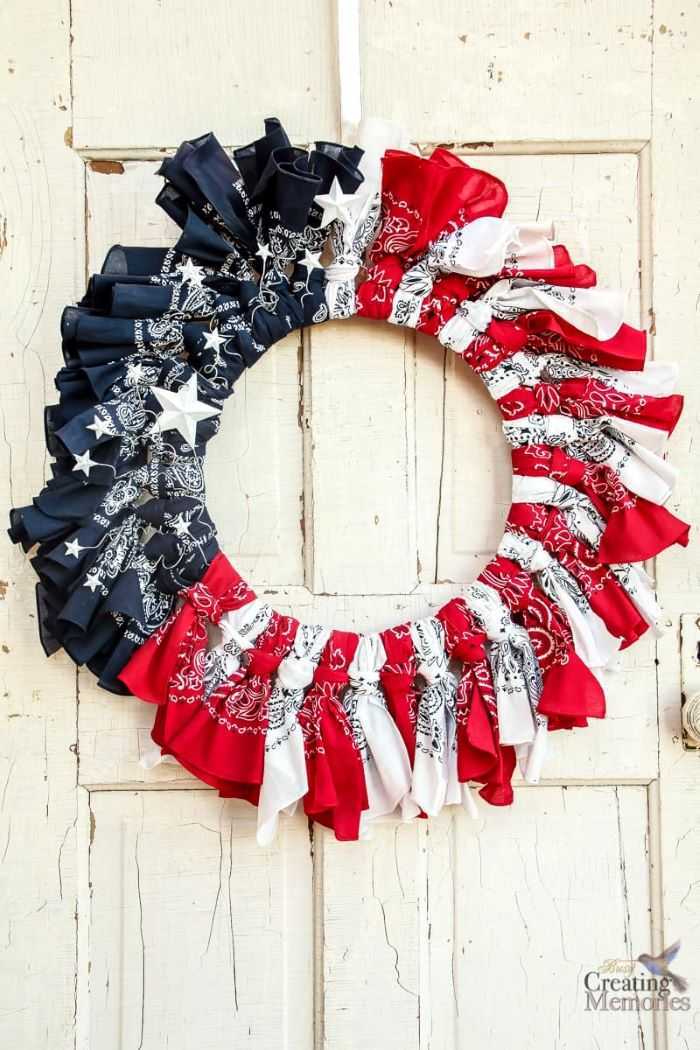fourth of july wreath step by step diy tutorial red white and blue bandana wreath