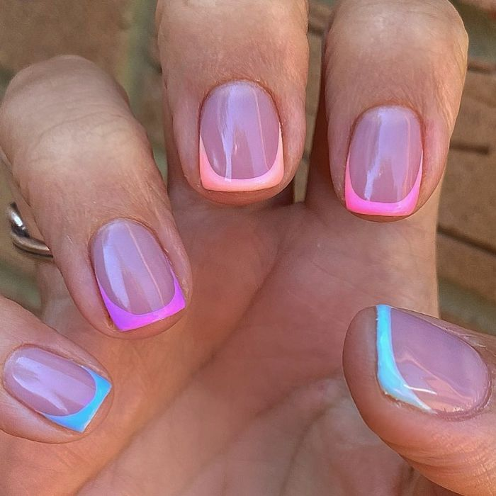 french manicure in different color on each nail summer nails 2021 blue pink orange purple