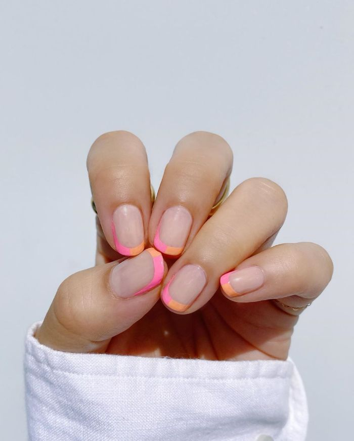 french manicure made with pink and orange ombre cute nail designs short squoval nails