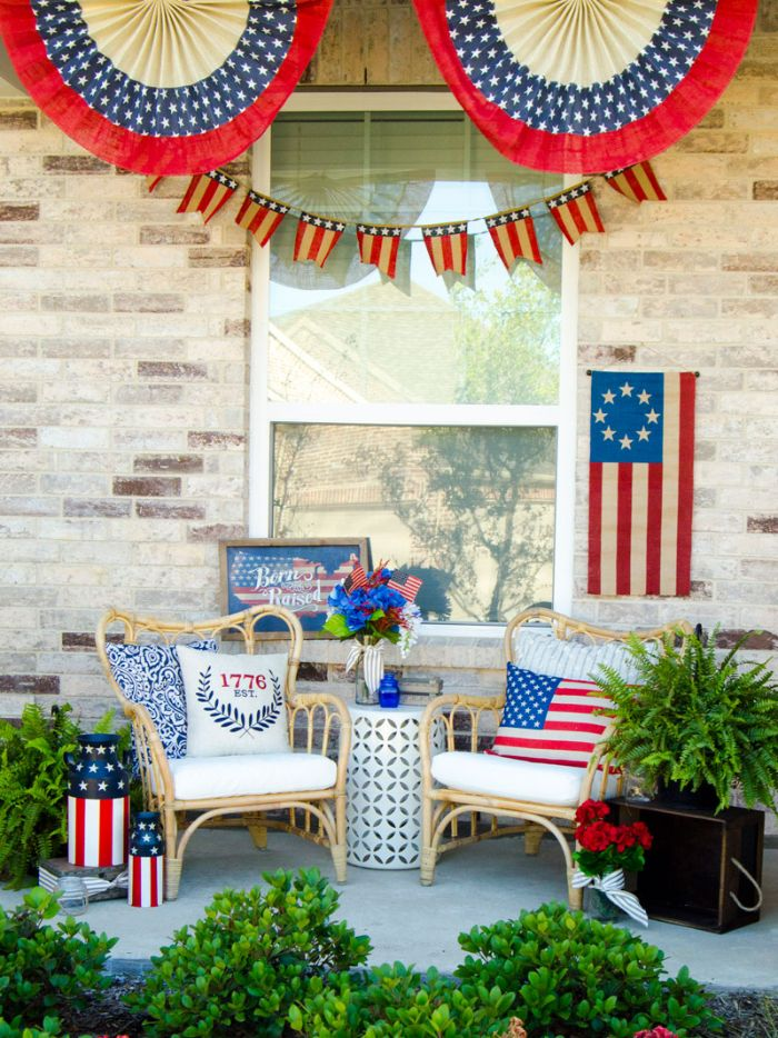 front porch with two armchairs 4th of july crafts decorated with american flags