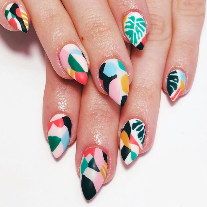 green red yellow blue pink abstract decorations summer acrylic nails medium length stiletto nails