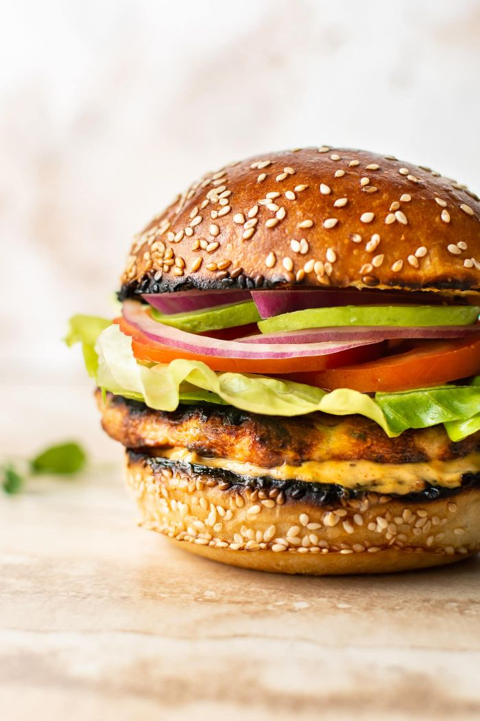 ground chicken patty hamburger recipes with lettuce cheese tomatoes cucumbers onions