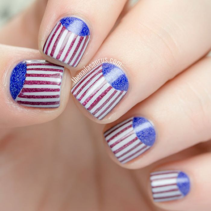 half moon in blue glitter nail polish red white and blue nail designs red stripes
