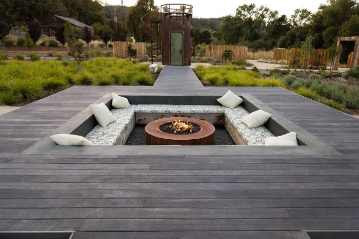 in ground fire pit seating ideas colorful cushions white throw pillows round metal fire pit