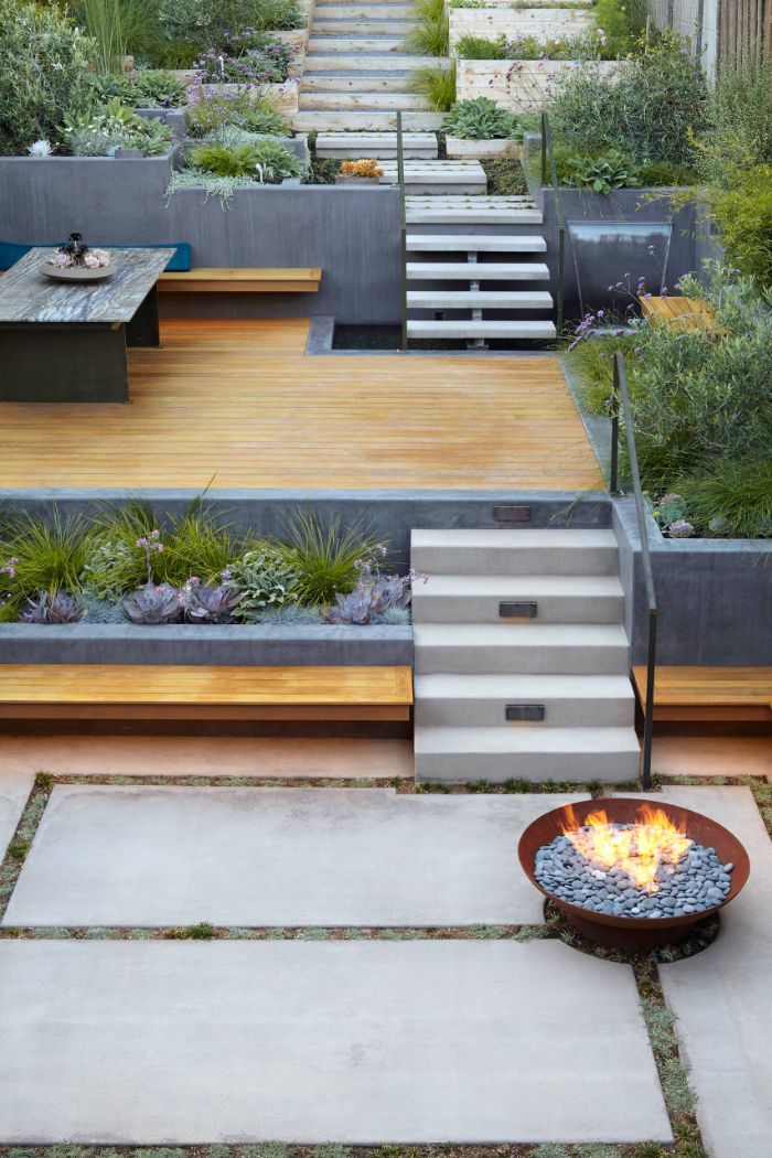 in ground fire pit small backyard with deck metal fire pit filled with small rocks