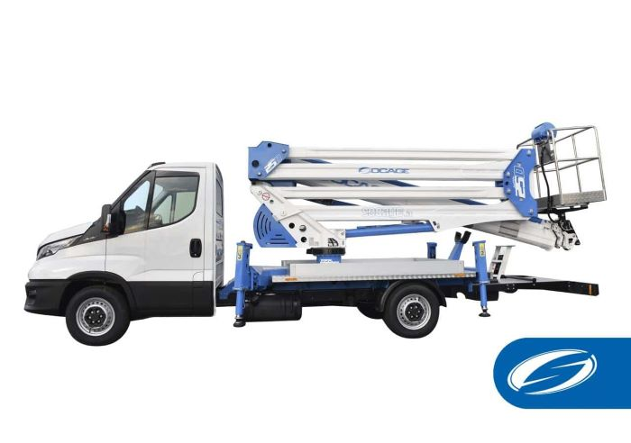 international consolidation strategy truck socage with aerial platform photographed on white background