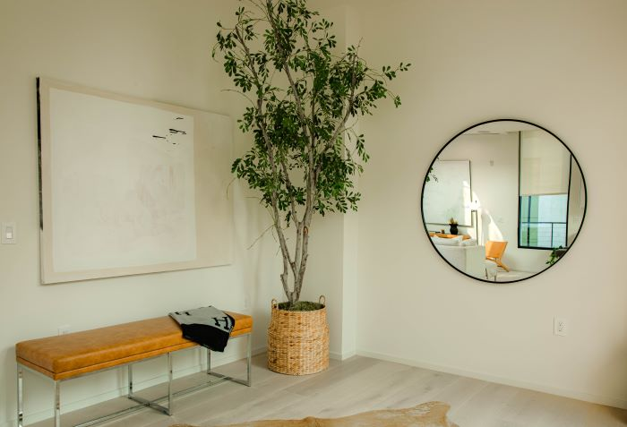 large round mirror on white wall décor ideas for living room next to large plant leather bench